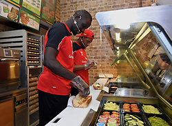 KUALA LUMPUR, MALYASIA - Thursday, July 23, 2015: Liverpool's Mamadou Sakho and Jordon Ibe make Subway sandwich for supporters during an event at the Paradigm Mall on day eleven of the club's preseason tour. (Pic by David Rawcliffe/Propaganda)