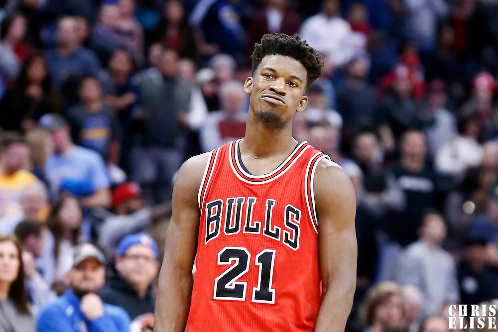 22 November 2016: Chicago Bulls forward Jimmy Butler (21) rests during the Denver Nuggets 110-107 victory over the Chicago Bulls, at the Pepsi Center, Denver, Colorado, USA.
