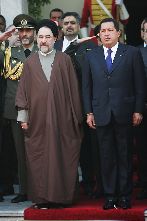 A portrait of President Hugo Chavez and Iranian President Mohammad Khatami during a ceremony at the Venezuelan Presidential Palace.
