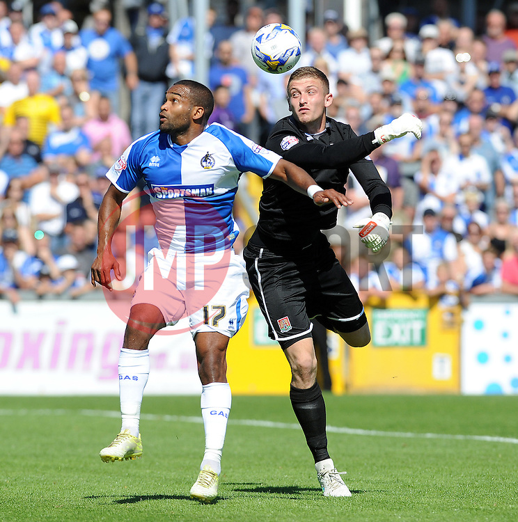 Jermaine Easter of Bristol Rovers and Adam Smith of Northampton Town don't seem to know where the ball is - Mandatory byline: Neil Brookman/JMP - 07966386802 - 08/08/2015 - FOOTBALL - Memorial Stadium -Bristol,England - Bristol Rovers v Northampton Town - Sky Bet League Two
