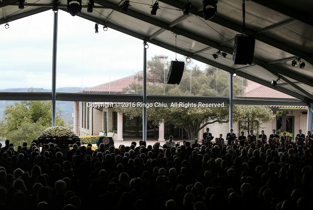 The view of a funeral service for the former first lady Nancy Reagan at the Ronald Reagan Presidential Library and Museum in Simi Valley, California on March 11, 2016. Reagan died of congestive heart failure in her sleep at her Bel Air home Sunday at age 94. A bout 1,000 guests from the world of politics attended the final farewell to Nancy Reagan as the former first lady is eulogized and laid to rest next to her husband at his presidential library.<br />    (Photo by Ringo Chiu/PHOTOFORMULA.com)<br /> <br /> Usage Notes: This content is intended for editorial use only. For other uses, additional clearances may be required.