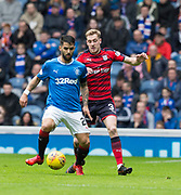 7th April 2018, Ibrox Stadium, Glasgow, Scotland; Scottish Premier League football, Rangers versus Dundee; Daniel Candeias of Rangers and Kevin Holt of Dundee