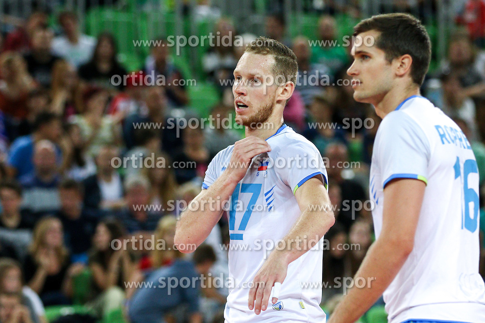 Tine Urnaut of Slovenia and Gregor Ropret of Slovenia during friendly volleyball match between national teams of Slovenia and Brasil in Arena Stozice on 9. September 2015 in , Ljubljana, Slovenia. Photo by Matic Klansek Velej / Sportida