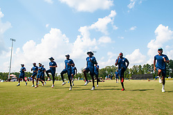 September 22, 2018 - Morrisville, North Carolina, US - Sept. 22, 2018 - Morrisville N.C., USA - Team USA warms up during the ICC World T20 America's ''A'' Qualifier cricket match between USA and Canada. Both teams played to a 140/8 tie with Canada winning the Super Over for the overall win. In addition to USA and Canada, the ICC World T20 America's ''A'' Qualifier also features Belize and Panama in the six-day tournament that ends Sept. 26. (Credit Image: © Timothy L. Hale/ZUMA Wire)