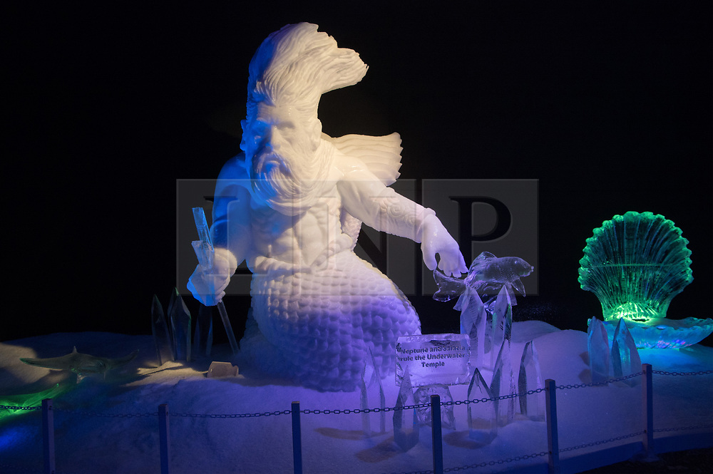 © Licensed to London News Pictures. 16/11/2017. London, UK.  A large ice sculpture  featuring Neptune is on display showing as part of the Deep Sea Adventure. The Magical Ice Kingdom is the largest indoor ice and snow sculpture experience in Europe and part of the Hyde Park Winter Wonderland. Photo credit: Ray Tang/LNP