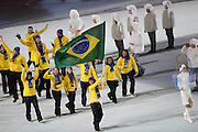 07.02.2014. Sochi, Russia. Opening Ceremonies for the XXII Olympic Winter Games Sochi 2014. FISHT Stadium, Adler/Sochi, Russia Members of Brasil delegation parade into the stadium