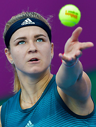 DOHA, Feb. 15, 2019  Karolina Muchova of the Czech Republic serves during the women's singles quarterfinal between Elina Svitolina of Ukraine and Karolina Muchova of the Czech Republic at the 2019 WTA Qatar Open in Doha, Qatar, Feb. 14, 2019. Karolina Muchova lost 0-2. (Credit Image: © Nikku/Xinhua via ZUMA Wire)