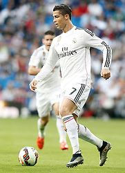 23.05.2015, Estadio Santiago Bernabeu, Madrid, ESP, Primera Division, Real Madrid vs FC Getafe, 38. Runde, im Bild Real Madrid's Cristiano Ronaldo // during the Spanish Primera Division 38th round match between Real Madrid CF and Getafe FCat the Estadio Santiago Bernabeu in Madrid, Spain on 2015/05/23. EXPA Pictures &copy; 2015, PhotoCredit: EXPA/ Alterphotos/ Acero<br /> <br /> *****ATTENTION - OUT of ESP, SUI*****