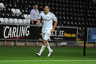 Swansea city's Danny Graham celebrates after scoring.Pre-season friendly match, Swansea city v Blackpool at the Liberty Stadium in Swansea, South Wales on Tuesday 7th August 2012. pic by Andrew Orchard, Andrew Orchard sports photography,