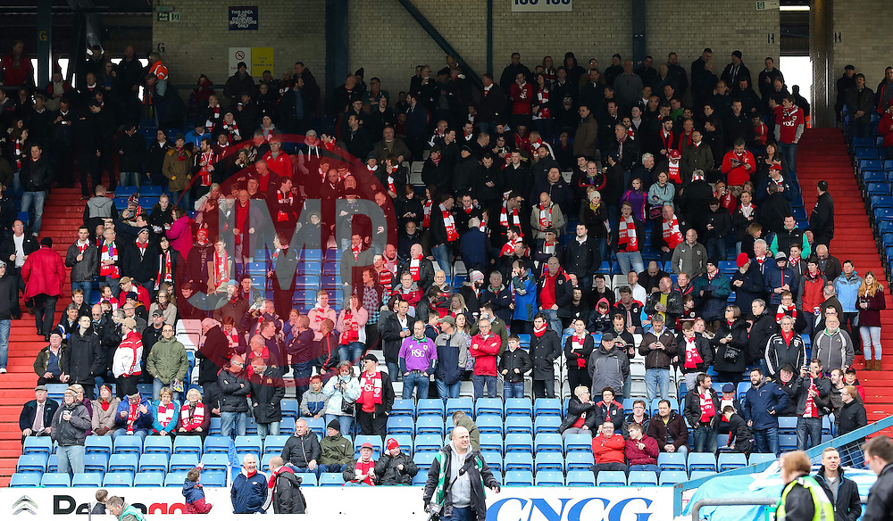 Bristol City fans gather before kick off - Photo mandatory by-line: Matt McNulty/JMP - Mobile: 07966 386802 - 03/04/2015 - SPORT - Football - Oldham - Boundary Park - Oldham Athletic v Bristol City - Sky Bet League One
