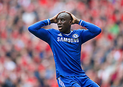 27.04.2014, Anfield, Liverpool, ENG, Premier League, FC Liverpool vs FC Chelsea, 36. Runde, im Bild Chelsea's Demba Ba rues a missed chance against Liverpool // during the English Premier League 36th round match between Liverpool FC and Chelsea FC at Anfield in Liverpool, Great Britain on 2014/04/27. EXPA Pictures &copy; 2014, PhotoCredit: EXPA/ Propagandaphoto/ David Rawcliffe<br /> <br /> *****ATTENTION - OUT of ENG, GBR*****