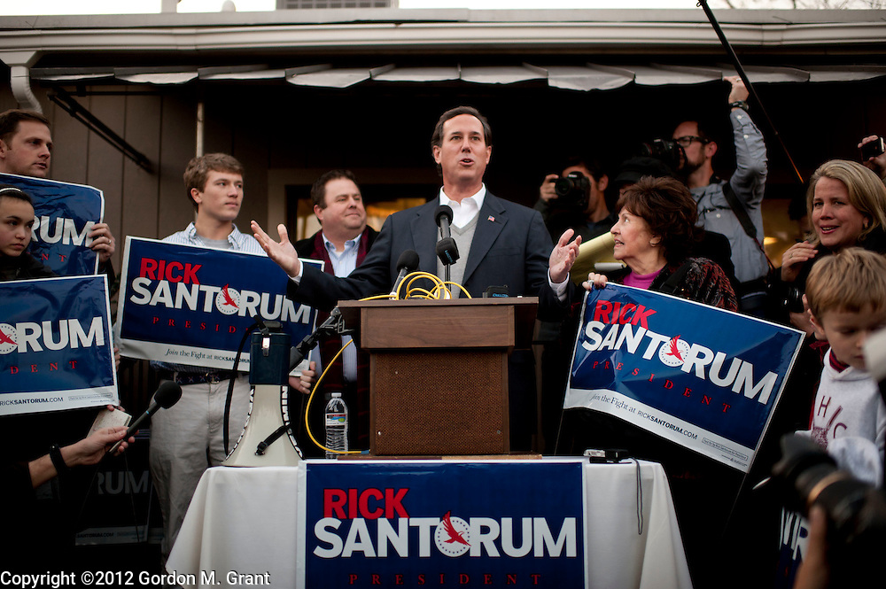 Manchester, NH, Unites States - 1/6/12 -   Former United States Senator Rick Santorum speaks during a campaign stop in Manchester, NH January 6, 2012, as he campaigns for the Republican nomination for President prior to the New Hampshire Primary.     (Photo by Gordon M. Grant)