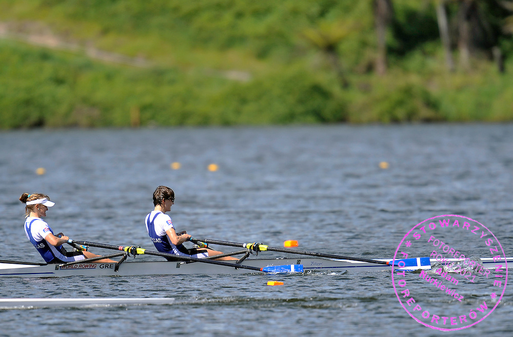 (BOW) CHRISTINA GIAZITZIDOU & (STROKE) ALEXANDRA TSIAVOU (BOTH GREECE) COMPETE IN WOMEN'S LIGHTWEIGHT DOUBLE SCULLS FINAL A DURING REGATTA WORLD ROWING CHAMPIONSHIPS ON KARAPIRO LAKE IN NEW ZEALAND...NEW ZEALAND , KARAPIRO , NOVEMBER 05, 2010..( PHOTO BY ADAM NURKIEWICZ / MEDIASPORT )..PICTURE ALSO AVAIBLE IN RAW OR TIFF FORMAT ON SPECIAL REQUEST.