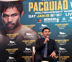 November 20, 2018 - Beverly Hills, California, U.S - November 20, 2018, Beverly Hills,Ca. ---  Manny ''Pacman'' Pacquiao (pictured) and Adrien ''The Problem'' Broner attend a press conference Tuesday in Beverly Hills,California for their upcoming WBA Welterweight title fight Saturday, January 19 from MGM Grand Garden Arena in Las Vegas..Boxing's only eight-division world champion, Pacquiao will end his two-year hiatus from a U.S. boxing ring when he returns to Las Vegas to defend title against former four-division world champion Broner. (Credit Image: © Chris Farina/ZUMA Wire)