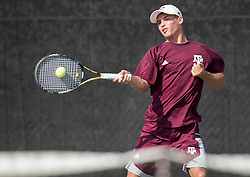 Texas Tech vs. Texas A&M in a NCAA men's tennis match Feb. 12th, 2017, in College Station, Texas.