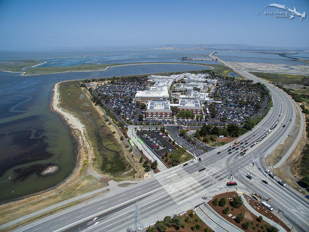Aerial Facebook HQ, 1 Hacker Way, Menlo Park, California.