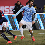 David Villa, (right),  NYCFC, challenged by José Gonçalves, New England Revolution, during the New York City FC v New England Revolution, inaugural MSL football match at Yankee Stadium, The Bronx, New York,  USA. 15th March 2015. Photo Tim Clayton