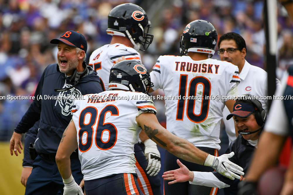 BALTIMORE, MD - OCTOBER 15: Chicago Bears head coach John Fox congratulates tight end Zach Miller (86) after his touchdown reception in the second quarter against the Baltimore Ravens on October 15, 2017, at M&T Bank Stadium in Baltimore, MD.  (Photo by Mark Goldman/Icon Sportswire)