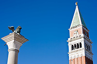 campanile with the lion statue pazzia san marco saint mark square in the beautiful city of venice in italy