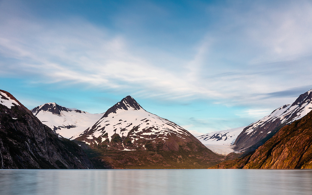 Long exposure of Portage Lake with  Bard Peak and Burns and Shakespeare Glaciers in Southcentral Alaska. Summer. Evening.