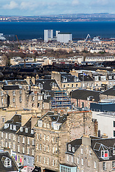 Wind turbines in Fife and Edinburgh as seen from the Edinburgh Castle Esplanade.