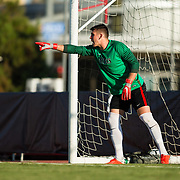 09 September 2018: San Diego State Aztecs goalkeeper Cameron Hogg (01) sets up his wall on a penalty shot in the first half. The San Diego State men's soccer team beat UC Irvine in overtime 2-1 Sunday afternoon at the SDSU Sports Deck.