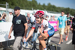 Joëlle Numainville (CAN) of Cervélo-Bigla Cycling Team celebrates her third place in the 121.5 km road race of the UCI Women's World Tour's 2016 Grand Prix Plouay women's road cycling race on August 27, 2016 in Plouay, France. (Photo by Balint Hamvas/Velofocus)