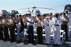 July 3, 2018 - San Diego, CA, USA - Military personnel and a few dependents took the citizenship oath on July 3, 2018, on board the USS Midway Museum in San Diego. (Credit Image: © Nelvin C. Cepeda/TNS via ZUMA Wire)
