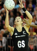 Irene Van Dyk Goes for Goal, during New World Netball Series, New Zealand Silver Ferns v England at The ILT Velodrome, Invercargill, New Zealand. Thursday 6 October 2011 . Photo: Richard Hood photosport.co.nz