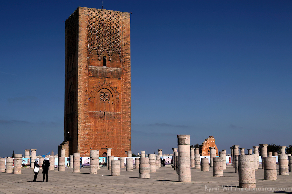 Africa, Morocco, Rabat. The unfinished minaret of Hassan Tower in Rabat.