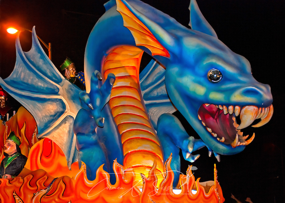 A dragon towers over a float during the Order of Inca Mardi Gras parade in downtown Mobile, Ala. Feb. 25, 2011. An estimated 84,484 people attended the parade in Mobile, which claims to have the oldest carnival celebration in the United States, dating back to 1703. (Photo by Carmen K. Sisson/Cloudybright)