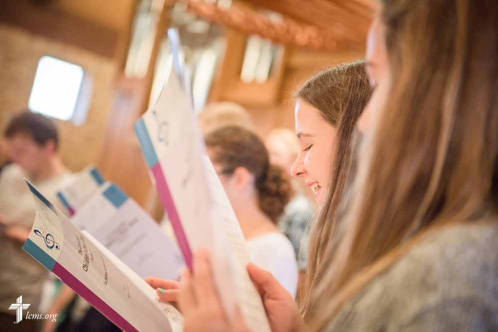 Choir members sing during chapel on Friday, Oct. 28, 2016, at First Immanuel Lutheran School in Cedarburg, Wis. LCMS Communications/Erik M. Lunsford