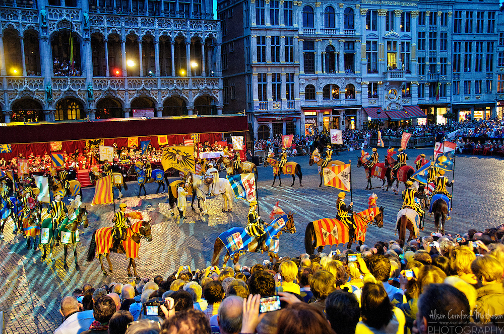 Performers participate in the Medieval Ommegang festival in the Grand Place of Brussels, Belgium