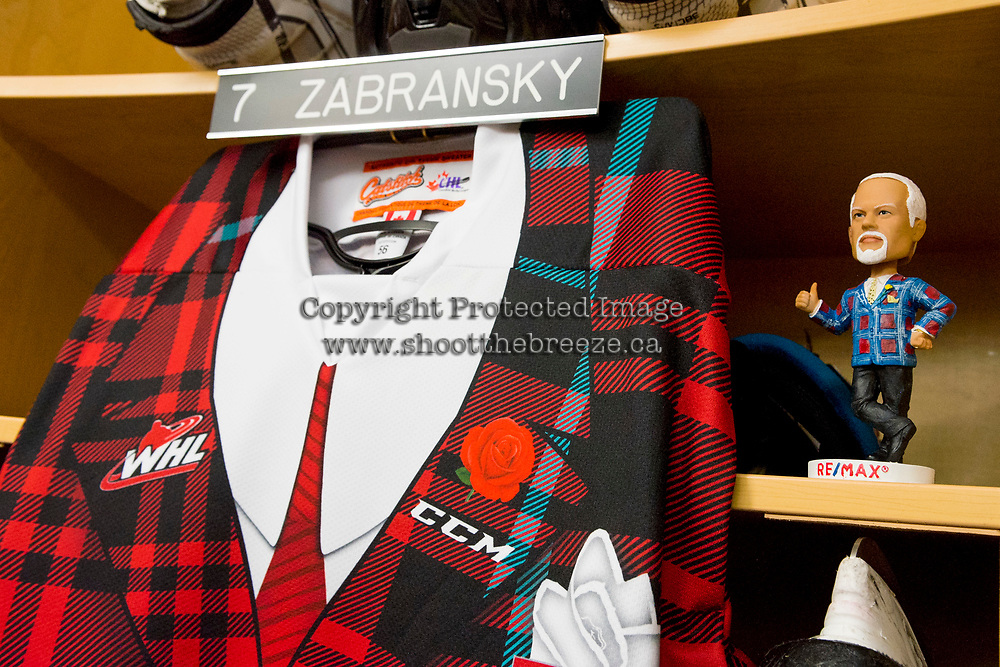 KELOWNA, CANADA - MARCH 10: Don Cherry bobble head stands in the locker of Libor Zabransky #7 of the Kelowna Rockets against the Kamloops Blazers on March 10, 2018 at Prospera Place in Kelowna, British Columbia, Canada.  (Photo by Marissa Baecker/Shoot the Breeze)  *** Local Caption ***