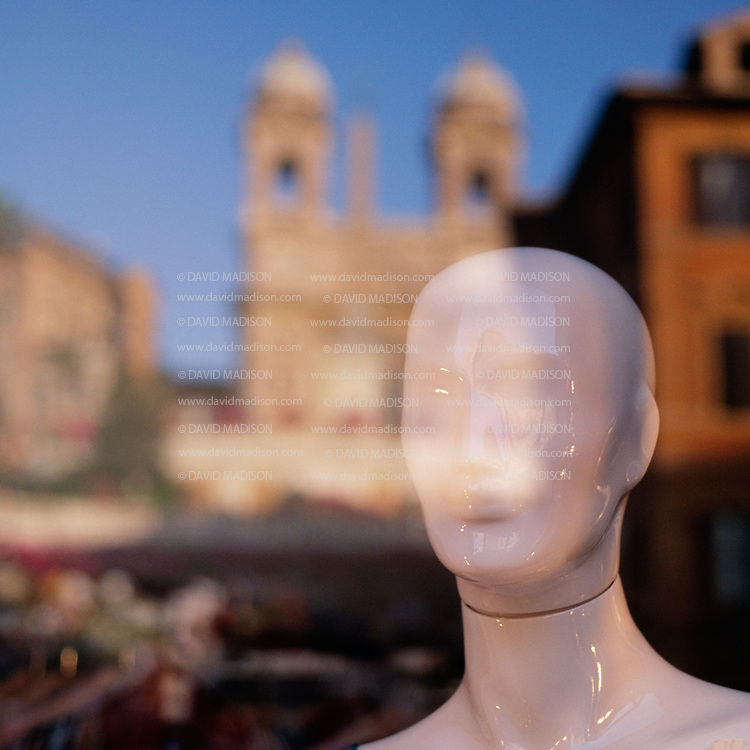 ITA-2031<br /> ITALY, Lazio, Rome<br /> Reflection of Piazza Spagna and Trinita dei Monti in window with mannequin.<br /> <br /> &copy; 2003 David Madison Sports Images, Inc.