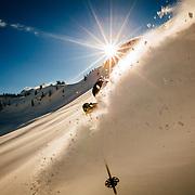Mark Kogelmann makes some powder turns in the backcountry near Mt Baker ski area.