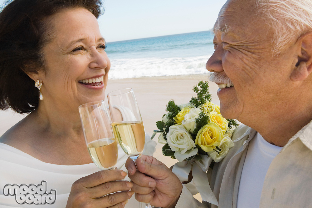 Senior Newlyweds Sharing a Toast