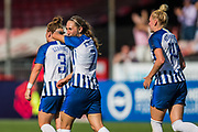 Goal scorer Aileen Whelan (Brighton) after her team celebration during the FA Women's Super League match between Brighton and Hove Albion Women and Chelsea at The People's Pension Stadium, Crawley, England on 15 September 2019.