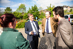 Pictured: Maia Gordon, Keith Brown,  George Elliis and Josiah Lockhart<br /> <br /> Cabinet Secretary for Economy, Jobs &amp; Fair Work Keith Brown visited Gorgie City Farm today  to mark their accreditation as the 800th Living Wage employer in Scotland. Mr Brown met Josiah Lockhart, CEO and undertook a short tour of the farm, celebrating their accreditation and promoting the Living Wage more generally. The Scottish Government has set a target of reaching 1,000 Scottish-based Living Wage Accredited Employers by autumn 2017. While at the farm Mr Brown met Maia Gordon, Kirsty McGoff (17) and Zoe White (18), who have benefited from the living wage, and George Ellis, chair of the farm's board of directors<br /> Ger Harley | EEm 18 May 2017