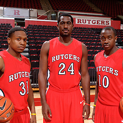 Rutgers men's basketball 2010-2011 captains Mike Coburn, Jonathan Mitchell and James Beatty