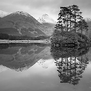 Lochan Urr, Glen Etive This beautiful wee Lochan in Glen Etive is situated a short drive from the more familiar pass of Glen Coe. It's an evocative location that encapsulates all the romantic notions of Scotland's Character. Reached by way of a crawl through a claustrophobic jungle of rhododendrons, this particular vantage point is right on the bank. From here the wonderful symmetry of the Buachailles', Etive Mor and Beag encompass the wonderful huddle of proud pines floating above the still water and the seasonal dusting of winter snow on the peaks, the icing on the cake.
