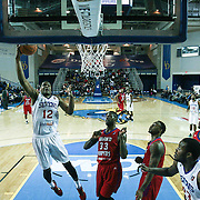 Delaware 87ers Forward Ronald Roberts (12) drives towards the basket in the first half of a NBA D-league regular season basketball game between the Delaware 87ers and the Grand Rapids Drive (Detroit Pistons) Friday, Jan. 09, 2015 at The Bob Carpenter Sports Convocation Center in Newark, DEL