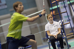 Line judge during match at Slovenia Open Badminton tournament 2012, on May 10, 2012, in Medvode, Slovenia. (Photo by Grega Valancic / Sportida.com)