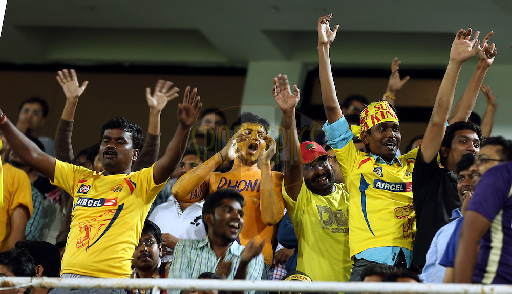 Fans Enjoys  during match 1 of the Oppo Champions League Twenty20 between the Kolkata Knight Riders and the Chennai Superkings held at the Rajiv Gandhi Cricket Stadium, Hyderabad, India on the 17th September 2014<br /> <br /> Photo by:  Sandeep Shetty / Sportzpics/ CLT20<br /> <br /> <br /> Image use is subject to the terms and conditions as laid out by the BCCI/ CLT20.  The terms and conditions can be downloaded here:<br /> <br /> http://sportzpics.photoshelter.com/gallery/CLT20-Image-Terms-and-Conditions-2014/G0000IfNJn535VPU/C0000QhhKadWcjYs