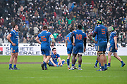 Henry Chavancy (FRA) donw on the floor, Maxime Machenaud (FRA), Remi Lamerat (FRA), Adrien Pelissie (FRA), Sebastien Vahaamahina (FRA), Cedate Gomes Sa (FRA) desapointed to lost the game during the NatWest 6 Nations 2018 rugby union match between France and Ireland on February 3, 2018 at Stade de France in Saint-Denis, France - Photo Stephane Allaman / ProSportsImages / DPPI