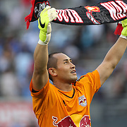 Goalkeeper Luis Robles, New York Red Bulls, celebrates his sides victory during the New York City FC Vs New York Red Bulls, MSL regular season football match at Yankee Stadium, The Bronx, New York,  USA. 28th June 2015. Photo Tim Clayton