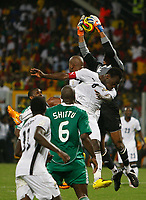 Photo: Steve Bond/Richard Lane Photography.<br />Ghana v Nigeria. Africa Cup of Nations. 03/02/2008. keeper Austine Ejide gathers a cross in front of Michael Essien (C)