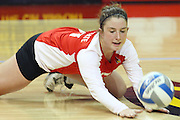 02 November 2012:  Jenny Menendez dives for a flat handed dig during an NCAA womens volleyball match between the Missouri State Bears and the Illinois State Redbirds at Redbird Arena in Normal IL