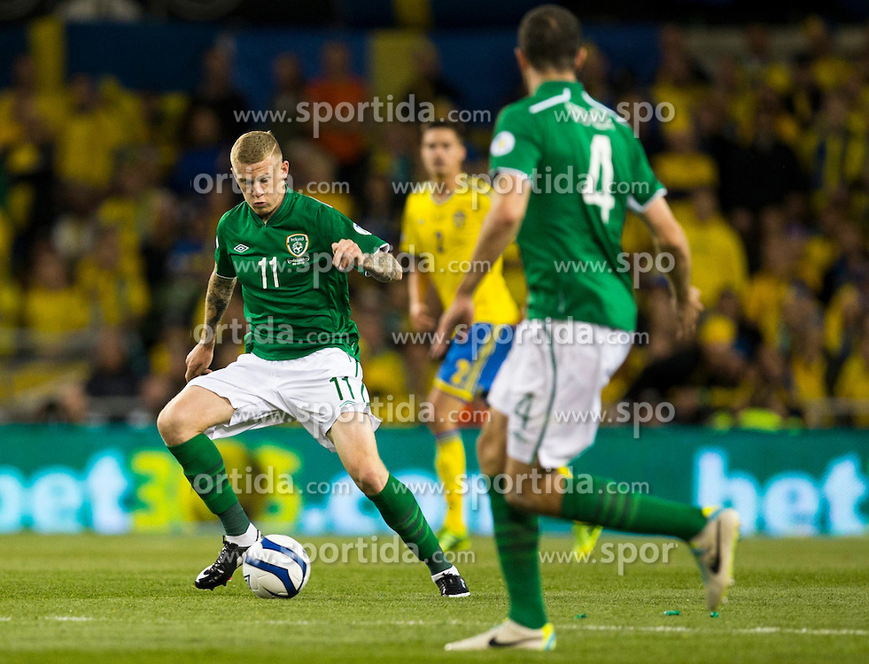 06.09.2013, Aviva Stadium, Dublin, IRL, FIFA WM Qualifikation, Irrland vs Schweden, Rueckspiel, im Bild Ireland 11 James McClean // during the FIFA World Cup Qualifier second leg Match between Ireland and Sweden at the Aviva stadium in Dublin, Ireland on 2013/09/06. EXPA Pictures &copy; 2013, PhotoCredit: EXPA/ PicAgency Skycam/ Michael Campanella<br /> <br /> ***** ATTENTION - OUT OF SWE *****
