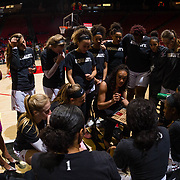 24 February 2018: The San Diego State women's basketball team closes out it's home schedule of the regular season Saturday afternoon against San Jose State. San Diego State Aztecs head coach Stacie Terry talks with her team prior to the start of the game against San Jose State.  At halftime the Aztecs lead the Spartans 36-33 at Viejas Arena.<br /> More game action at sdsuaztecphotos.com